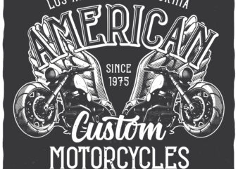 American Motorcycles. Editable t-shirt design.
