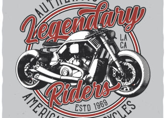 Legendary Riders. Editable t-shirt design.