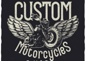 Custom Motorcycles. Editable t-shirt design.