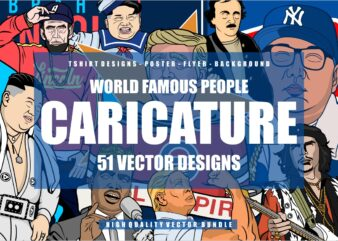 51 Caricature Tshirt Designs Bundle #1