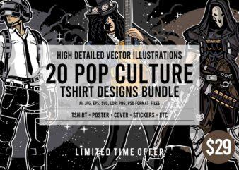 20 Pop Culture Tshirt Designs Bundle #2
