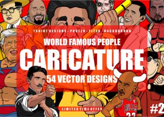 54 Caricature Tshirt Designs Bundle #2