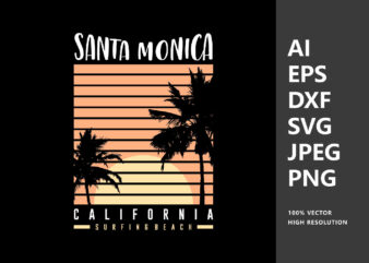 Santa Monica California Sunset T-Shirt Design Vector