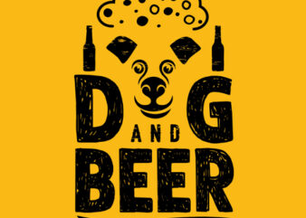 """Dog and Beer"" Design Tshirt vector template for Sale"