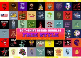 "50 T-SHIRT DESIGN BUNDLES ""FREE STYLE"""