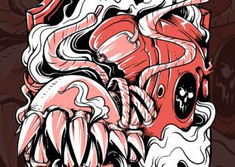 sneaker monster tshirt design
