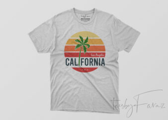 Los Angeles California Beach style T shirt Design