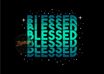 Blessed Neon text with Stars – Christian tshirt design for sale