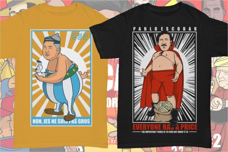 54 Caricature Tshirt Designs Bundle #2