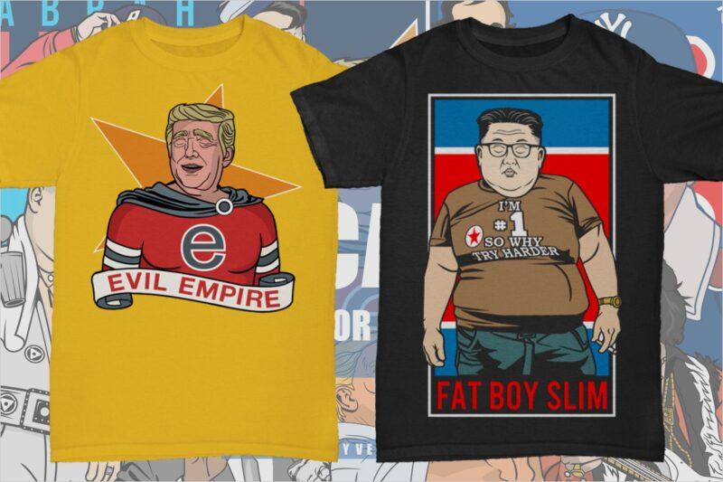 51 Caricature Tshirt Designs Bundle #1