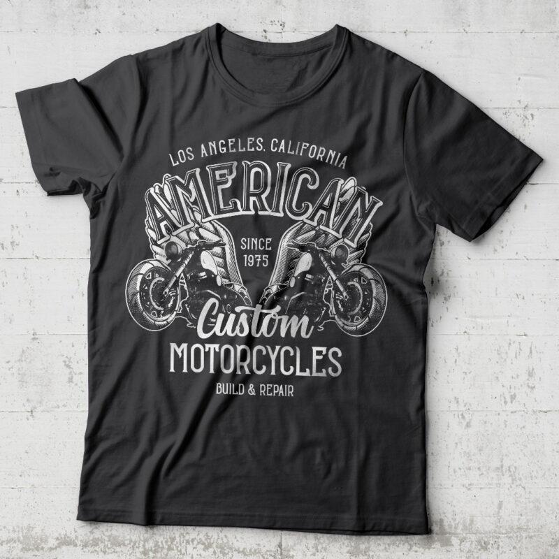 American Motorcycles. Editable t-shirt design.