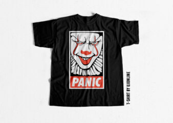 PANIC T shirt design for download – Horror T shirt design – Joker t shirt design