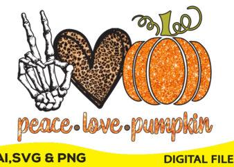 Peace, love, Pumpkin print ready t shirt design