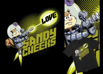 SANDY ROBOT LASER HIT THE LOVE, BIKINIBOT WAR, FUNNY CARTOON DESIGN