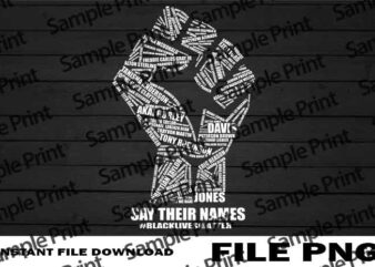 Say Their Names Black Lives Matter, Black Lives Matter PNG