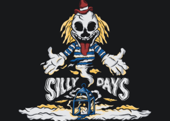 Silly days skull t shirt design for sale
