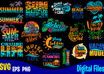 18 designs bundle, Summer designs for dark material, Summer, Tropic, Funny Summer design svg eps, png files for cutting machines and print t shirt designs for sale t-shirt design png