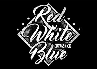 Typography American Themes – Red White And Blue