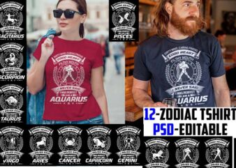 12 zodiac birthday bundle white color tshirt design psd file editable text and layer zodiac#4 UPDATE