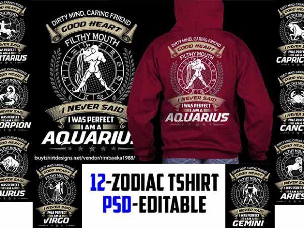 12 zodiac birthday bundle golden color tshirt design psd file editable text and layer zodiac#5