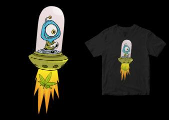 Cute aliens take Cannabis, funny design cartoon