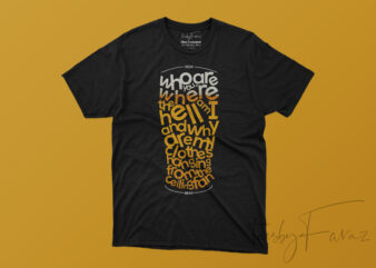 Words Scattered in Beer Glass Cool T shirt Design