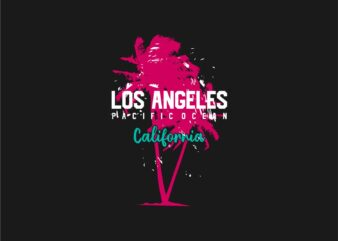 Los Angeles California Pacific Ocean Graphic T-shirt Design, Eps Svg Png