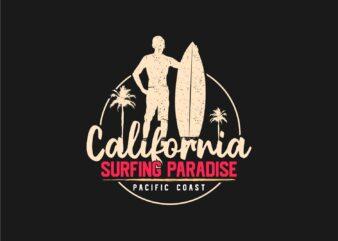 California Surfing Paradise T-shirt Design