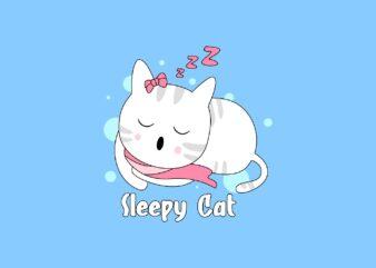 Sleepy Cat Cute Pet Animal Cartoon T-Shirt Design