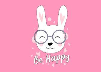 Be Happy Cute Cat Wearing Glasses Cartoon T-Shirt Design