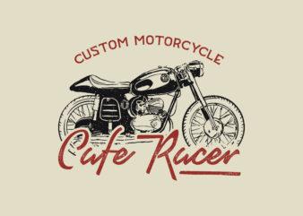 Custom motorsycle cafe racer part 2 tshirt design