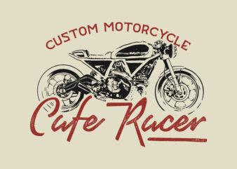 Custom Motorsycle Cafe Racer Tshirt Design