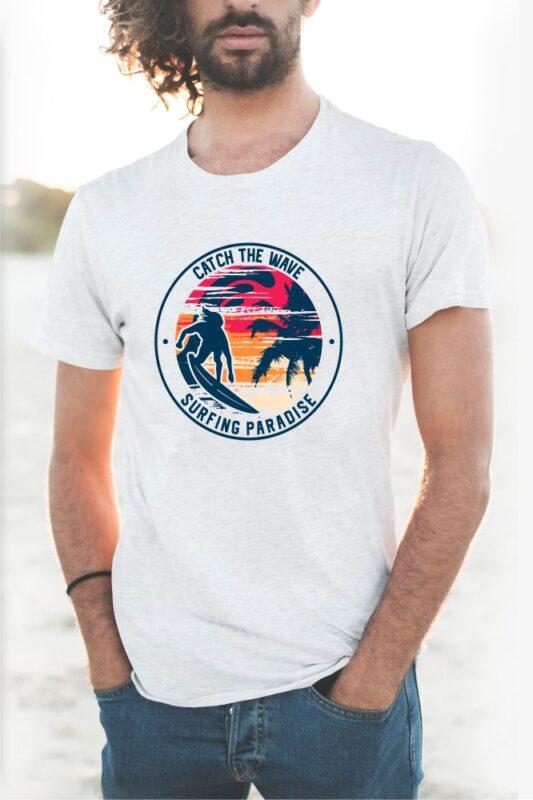 Surfing Paradise Sunset T-shirt Design Vector. eps svg png