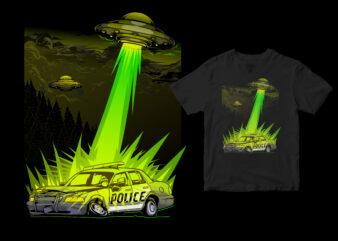 aliens destroy police cars funny design cartoon
