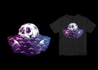 Dead in space or sea, summer cartoon design tshirt