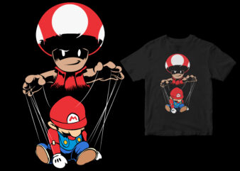 MARIONETTE, funny design cartoon super mario