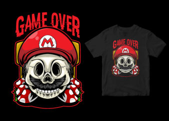 Game over. skull head super mario, cartoon