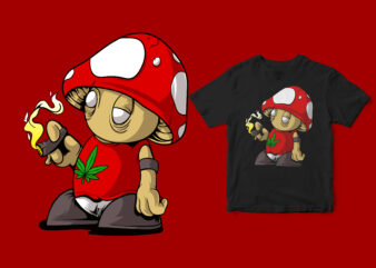 fungus smoking a cigarette, funny design cartoon mushrooms super mario