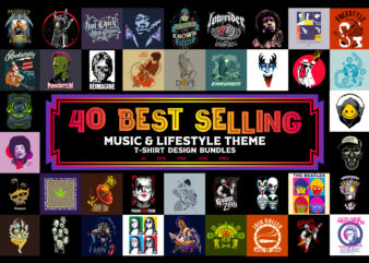 "40 BEST SELLING ""Music & Lifestyle"" T-shirt Design Bundles"