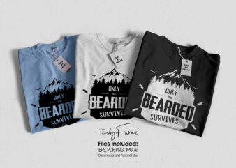 Only the bearded survives | T shirt design for sale