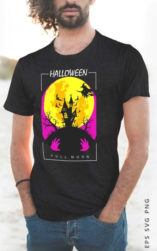 Halloween Full Moon Silhouette T shirt Design Eps Svg Png