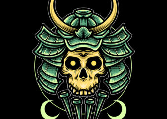 samurai skull design for t-shirt