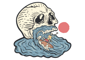Skull in the wave t shirt design for sale