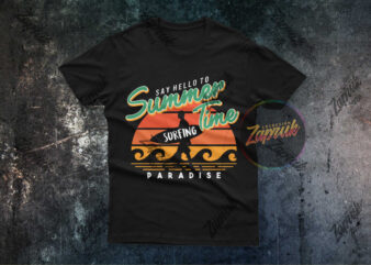 Summer Time Surfing Paradise Vector tshirt design for sale