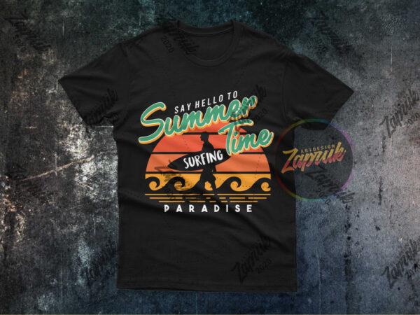 Hello Summer T-Shirt Summer Tee Surfing T-Shirts