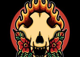 wolf skull tshirt design
