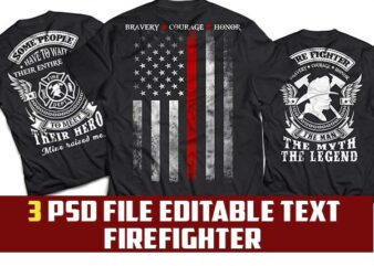 3 bundle firefighter tshirt design psd file editable text