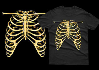 skeleton ribs unique funny tshirt design for halloween horor