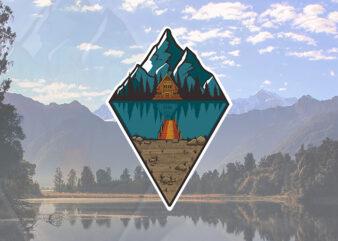 Mountain and Lake T-shirt Design