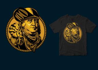 Golden coin Benjamin Franklin the hype Tshirt design